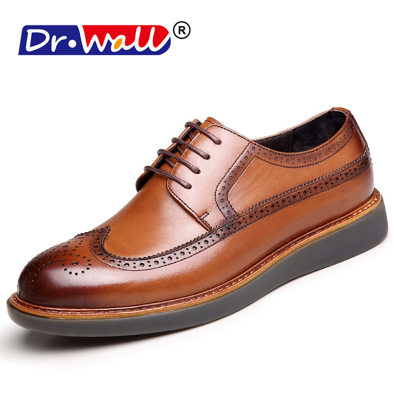 Men Dress Shoes Solid Casual Formal Breathable Shoes Male Work Safety Genuine Leather Shoes Round Toe Lace-Up Brogue Flats top quality england style retro mens cow genuine leather brogue shoes male casual shoes lace up round toe breathable wing tip