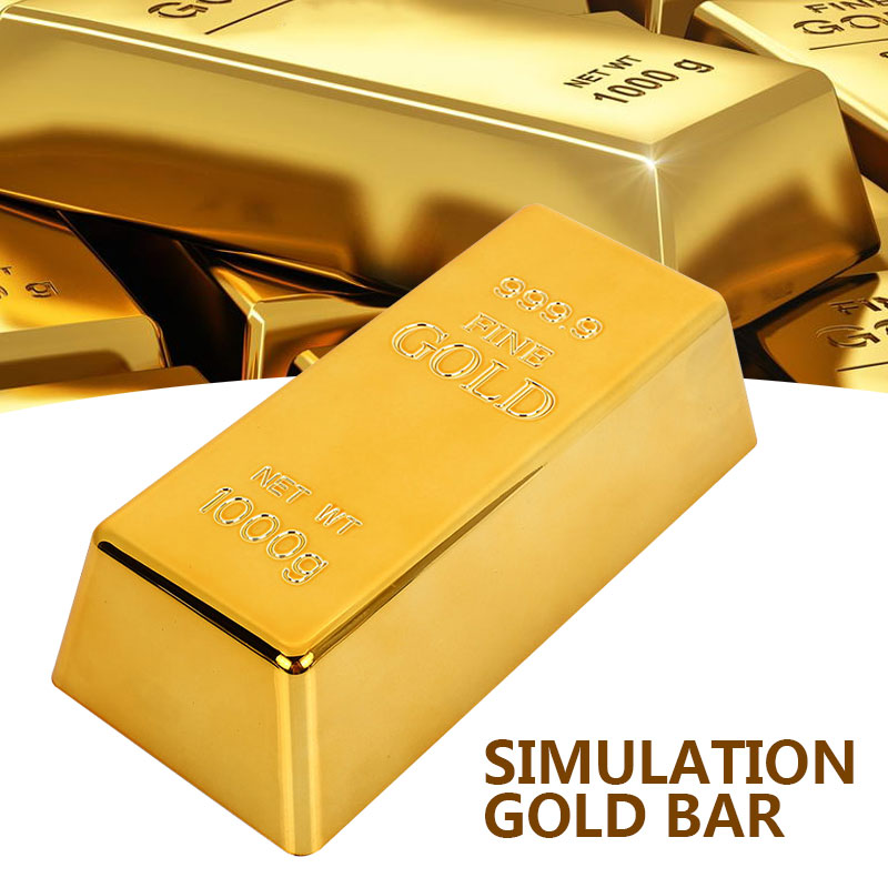 Nordic Fake Gold Bar Bullion Door Stop Plastic Golden Simulation Paperweigh Gate Stopper Props Table Decor Toy Shop Gift Office