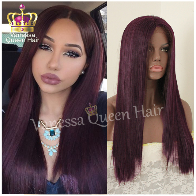 Burgundy Long Straight hair wig for black women silk straight wig synthetic  lace front wig glueless heat resistant free shipping 3e2b9e934b
