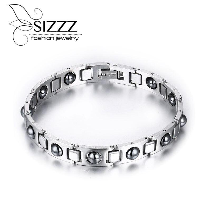 2310507e5938 Pulsera de los hombres hematita salud Cuidado joyas de acero inoxidable de  moda Pulseras con encanto y Brazaletes