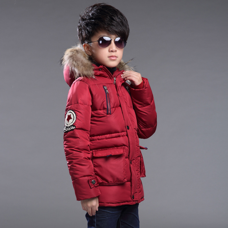2017 new boy with cotton jacket winter jacket warm boy clothes child baby thick down jacket cold winter jacket 6 8 10 12 16 Y 6 free shipping winter new children s wear patch splicing shoulder button boy cotton padded clothes child quilted jacket