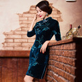 TIC-TEC women cheongsam short qipao chinese traditional dress oriental dresses Embroidery velvet vintage evening clothes P2874