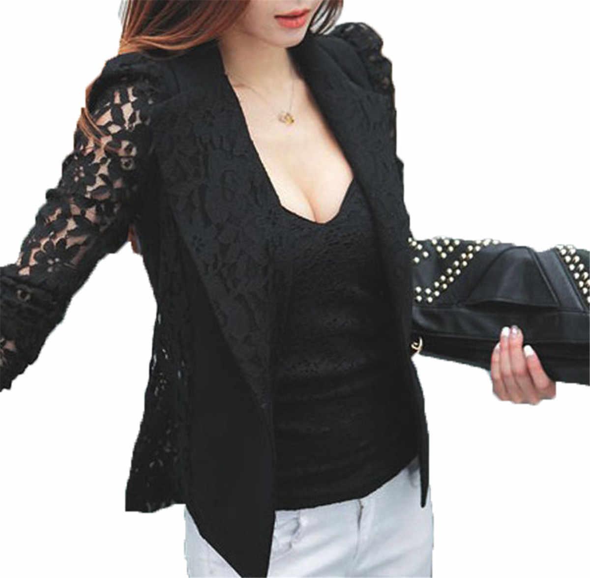 e0e0c1da0ac5 ... Women Lace Crochet Blazers Jackets 2018 New Summer Autumn Fashion Slim  One Button Blazer Femenino Ladies ...