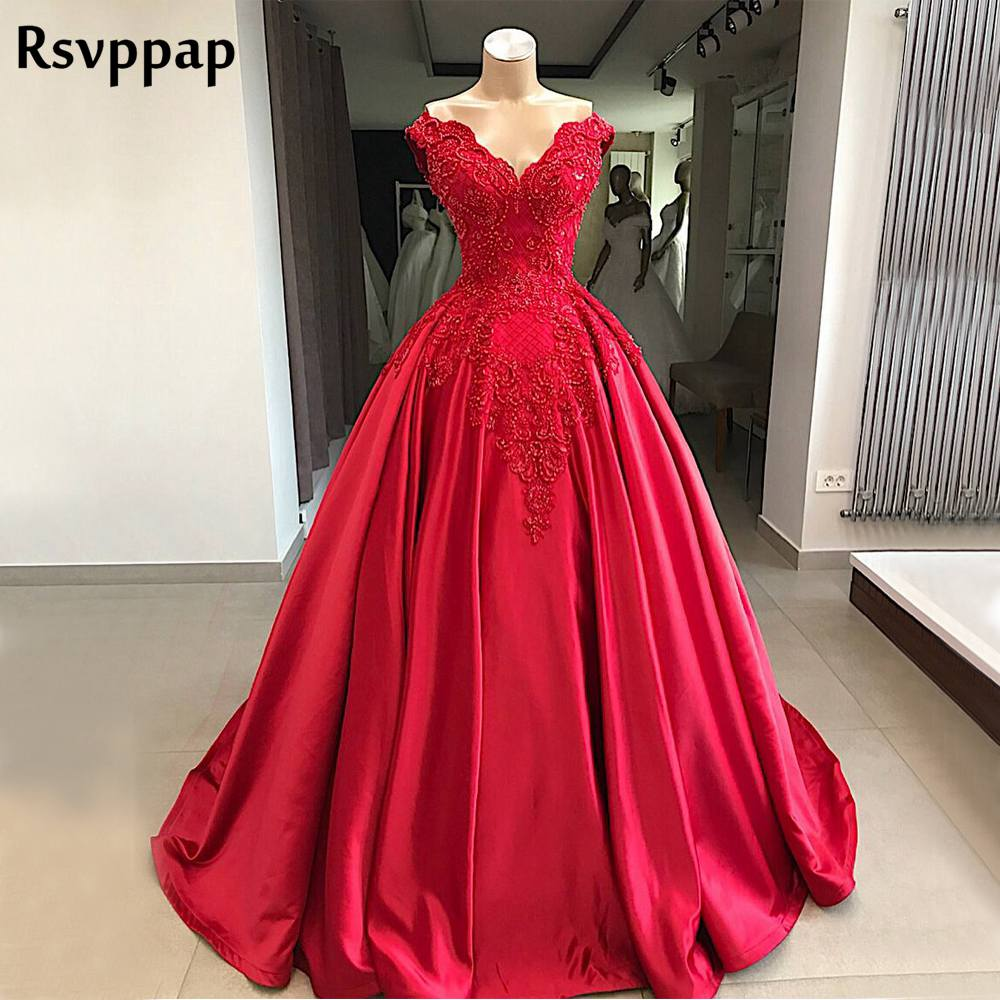 Long Red Balll Gown   Evening     Dresses   2018 V-neck Beaded Lace abendkleider Arabic Party Formal Gowns robe de soiree