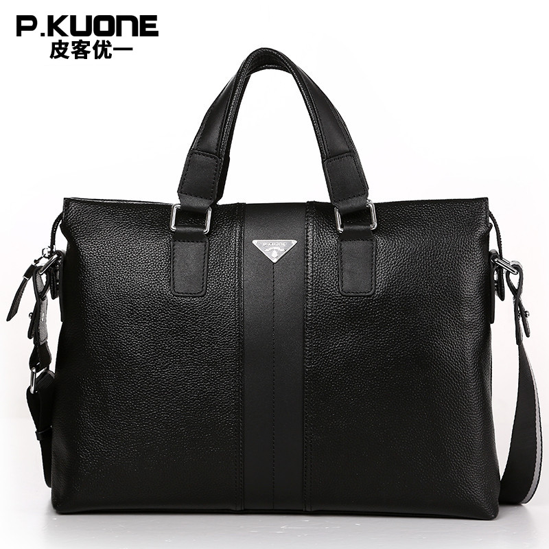 P.Kuone Designer Brand 100% Cowhide Men Genuine Leather Handbags Man Leather Business Briefcase Laptop Bag Men Messenger Bags men messenger bags genuine leather bag men briefcase designer handbags high quality famous brand business men bag jie 0124