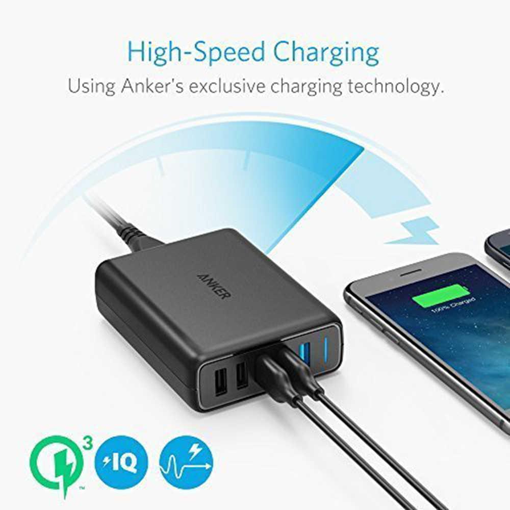 Anker Pengisian Cepat 3.0 63W 5-Port US/Uk/EU USB Dinding Charger poweriq Powerport Kecepatan 5 untuk Galaxy S7 S6 Edge Plus, Catatan 5 4 Dll