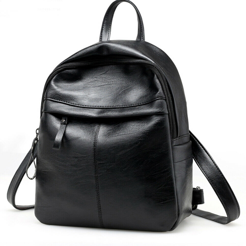 New Fashion Women's Backpack Anti-theft School Bag Black PU Leather Travel Shoulder Bag