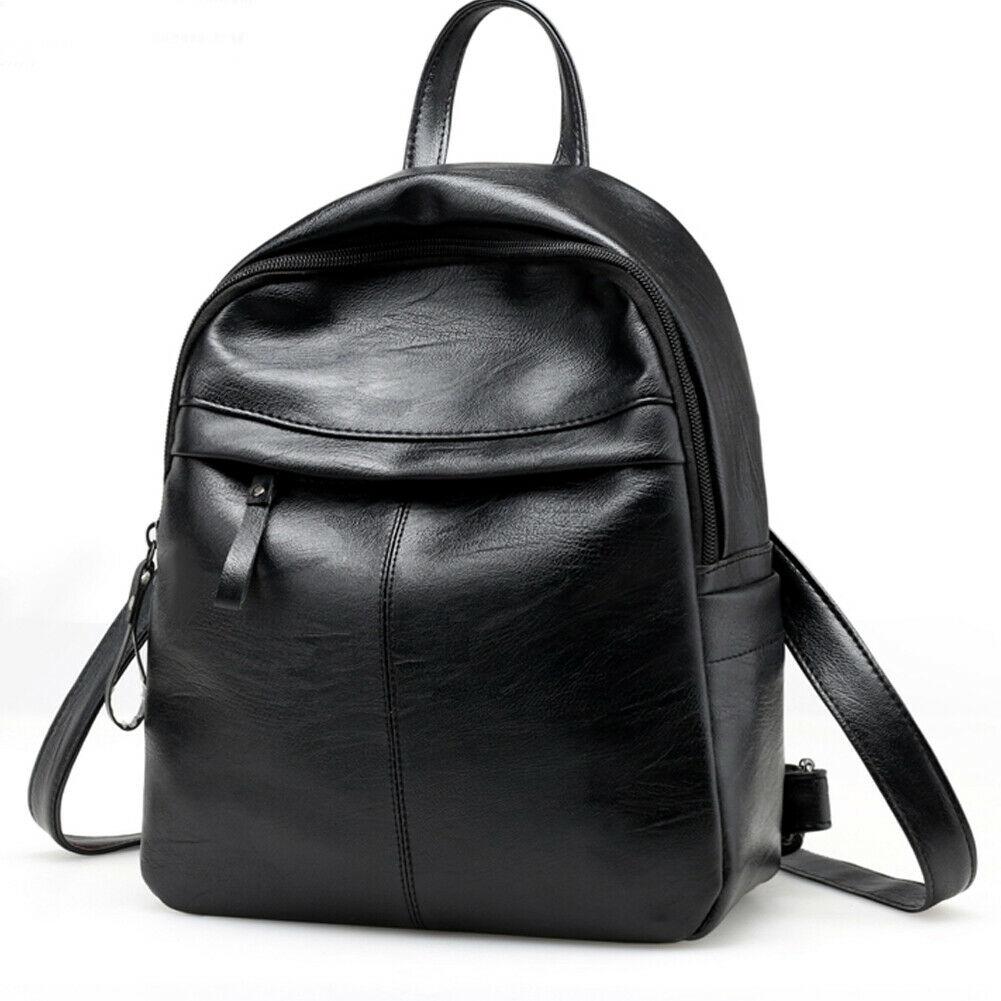 New Fashion Women's Backpack Canta College Wind School Bag Black Travel PU Leather Shoulder Bag