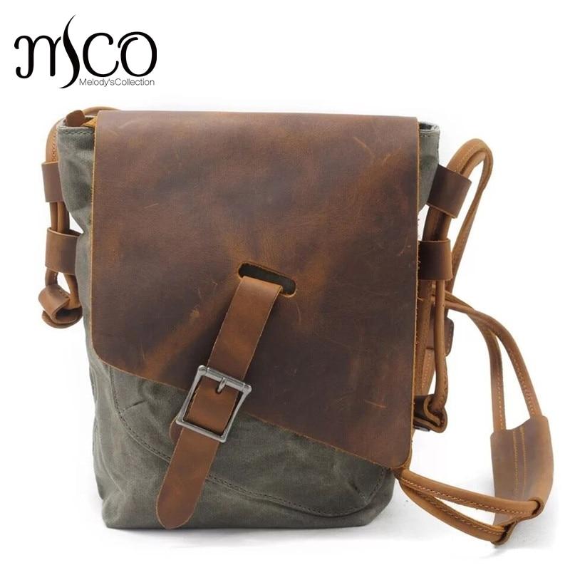цена на Military Waterproof Men Canvas Bag Casual Travel Small Shoulder Bag Vintage Crazy horse Leather Crossbody Men Messenger Bags