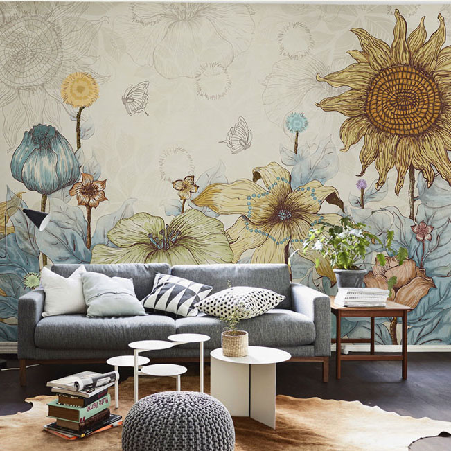Many Colorful flower wallpaper 3d wall mural for living ...