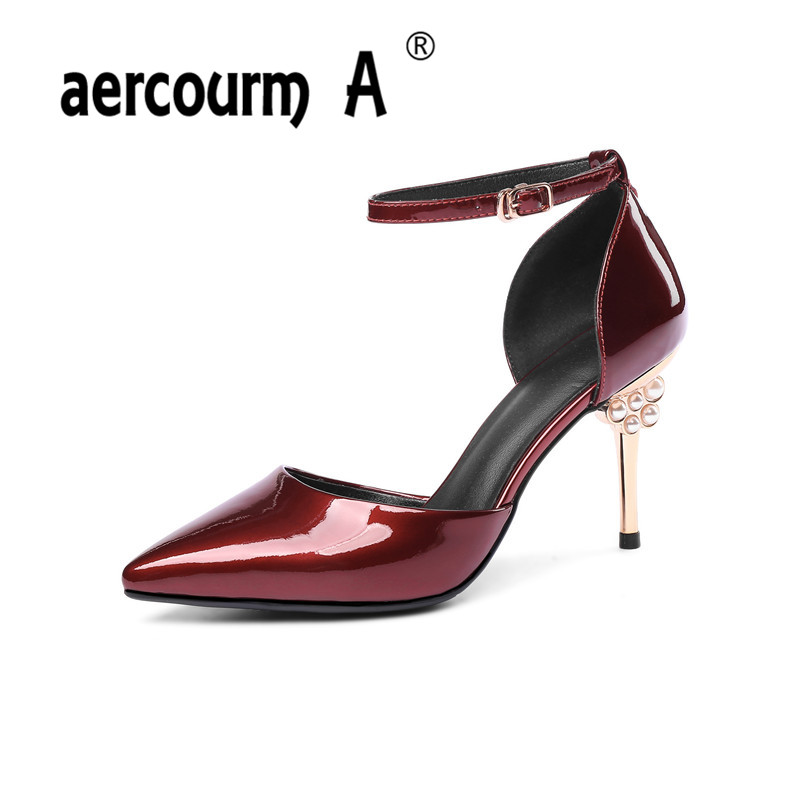 Aercourm A Women Gray Wine Red Pumps Female Patent Leather Shoes Lady Buckle Strap Solid Shoes 2018 Super High Heel Shoes MLD aercourm a 2018 women black fashion shoes female bright genuine leather shoes pearl high heel pumps bow brand new shoes z333