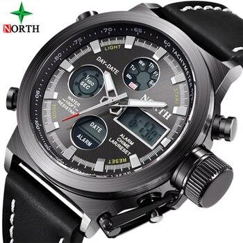 03a506804b26 Al norte de la marca de lujo de los hombres relojes impermeable militar LED  analógico Digital