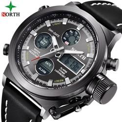 North Top Luxury Brand Men Watches Military Waterproof LED Analog <font><b>Digital</b></font> Sport <font><b>Clock</b></font> Male Wrist Watch Relogio Masculino