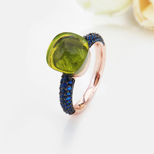Image 4 - FORIS Rose Gold Color With Black Plated Blue Zircon Wedding Rings for Women Girls Austrian Crystal Bague Femme 14 Colors