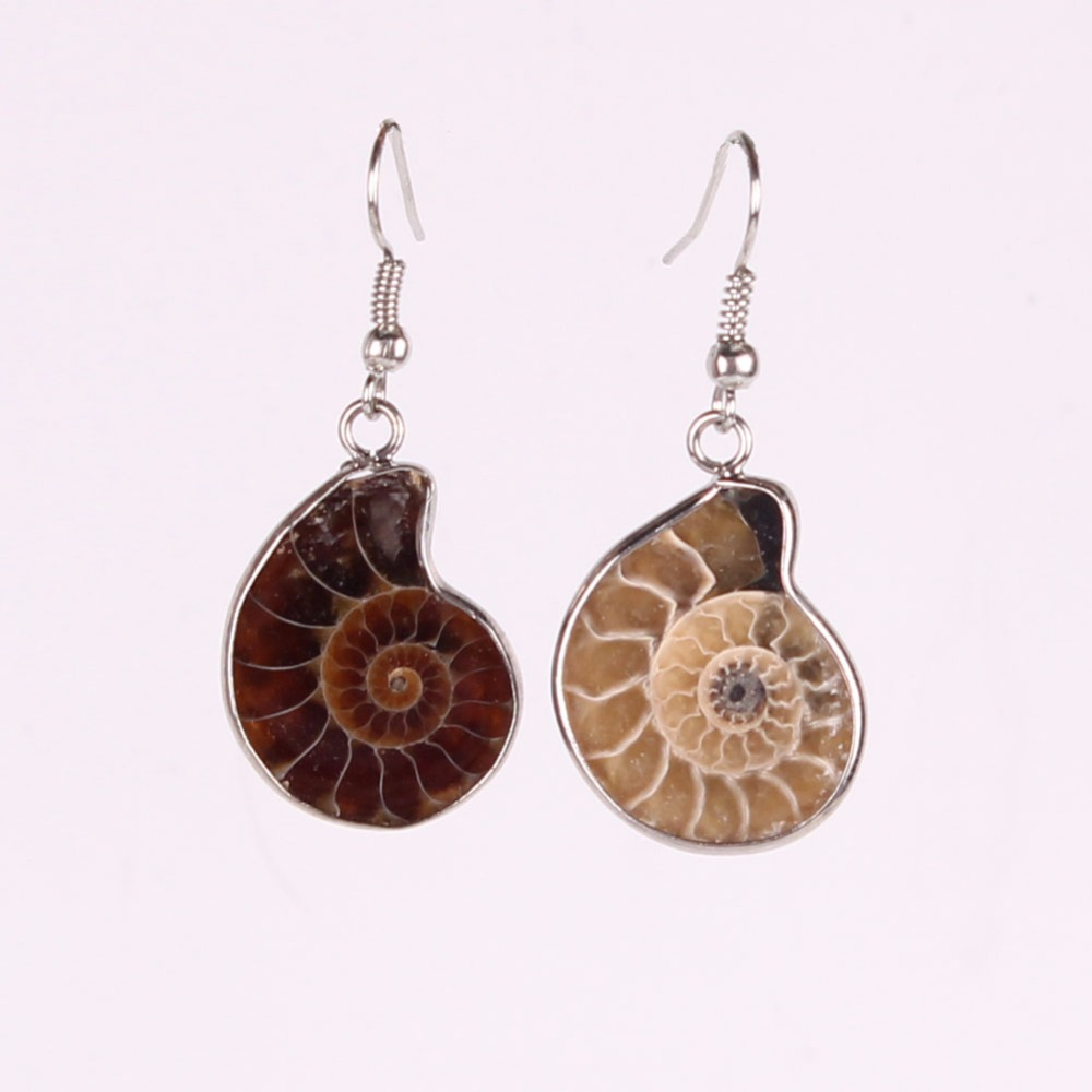 Best Selling! Nice and Popular Design Novelty Earring 100% Hand Made Natural Ammonite Stone Drop Earring Jewelry Christmas Gift