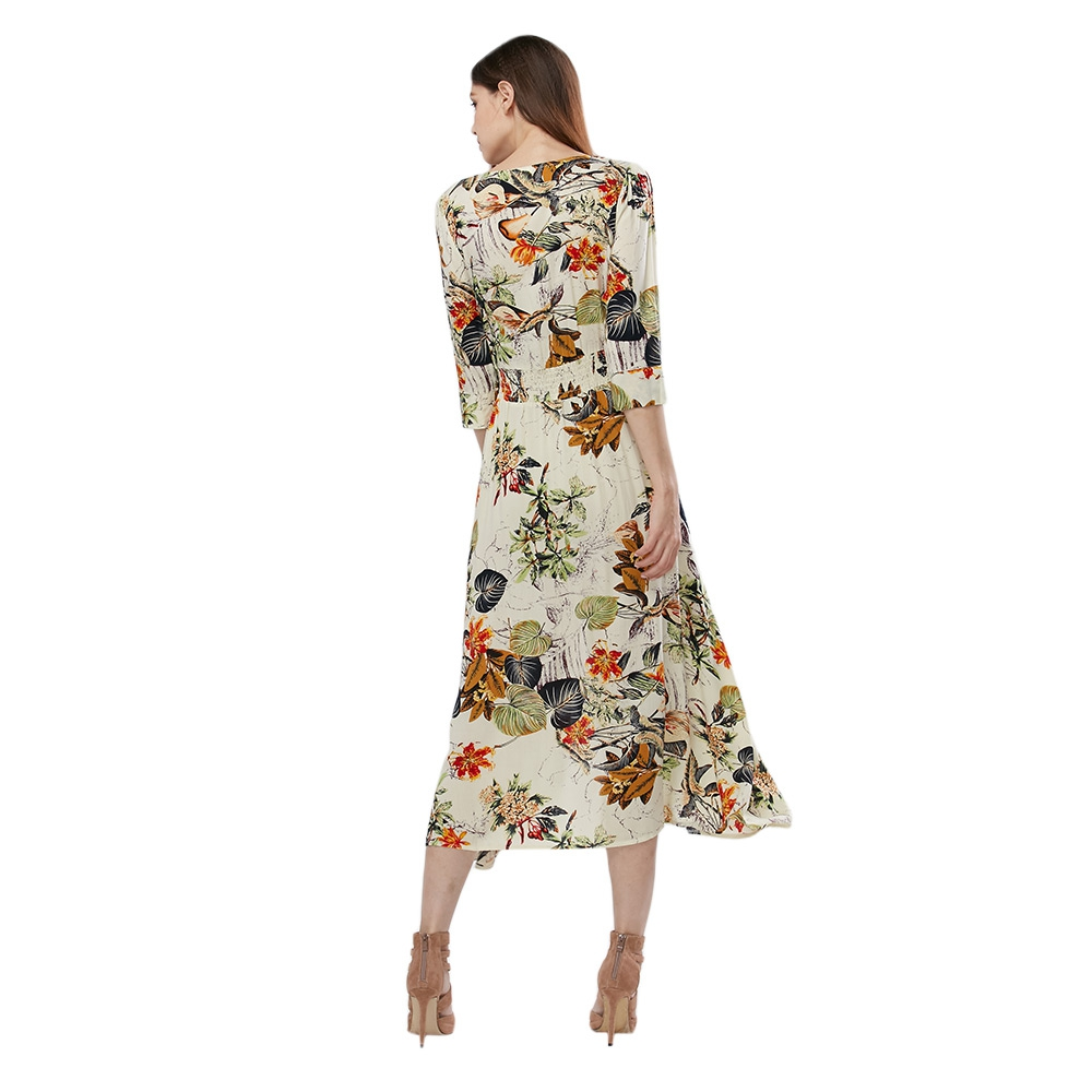 VESTLINDA Vintage Dress Allover Floral Print Elestic Waist Split Long Dress V Neck 34 Sleeve Robe Femme Women 2017 Summer Dress 2