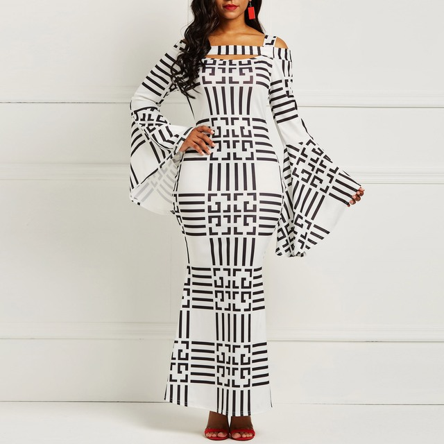 09fedf604ea1b US $35.53 |Clocolor African Women Clothing Plus Size Bodycon Autumn Winter  Long Sleeve Ladies Vintage Sexy Hollow Long Maxi Striped Dress-in Dresses  ...