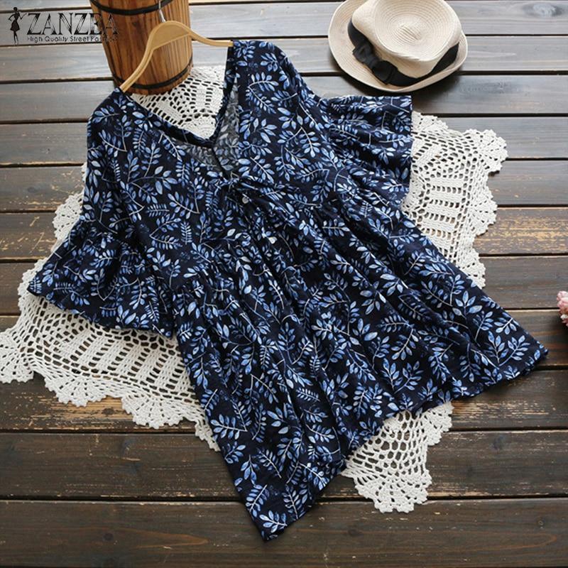 2018 ZANZEA Women Summer V Neck Short Sleeve Floral Printed Shirt Retro Cotton Linen Blusas Ruffles Casual Beach Top Boho Blouse