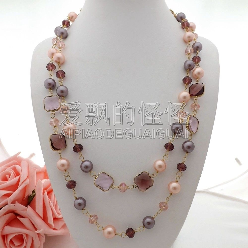 N063006 48 Multi Color Sea Shell Pearl Crystal Long Necklace