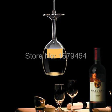 Color 3W LED Cup Chandelier Light Wineglass Pendant Lamp for Living Room Bar Saloon Dining Room 3wx3 led light crystal chandelier pendant lamp for living room bar saloon dining room pendant lights free shipping