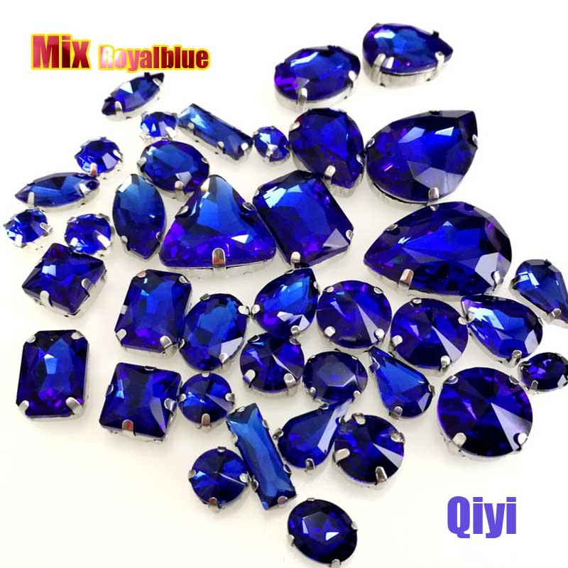 Vendre à perte! 50 pcs/sac de haute qualité forme mixte Bleu Royal glasssew sur griffe strass, bricolage vêtements accessoires SWM05