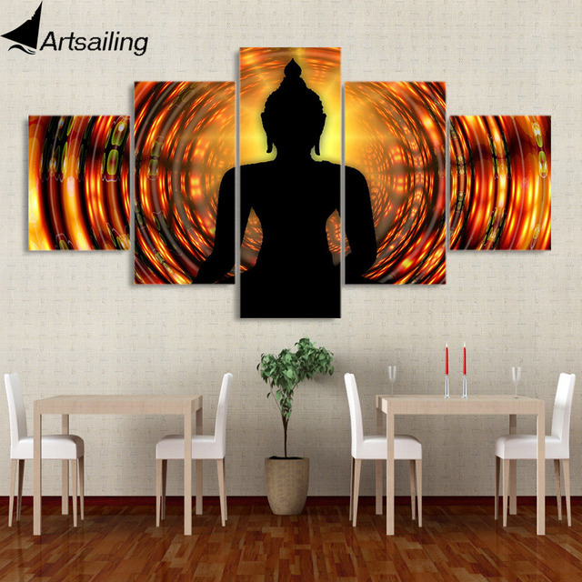 5 Piece Canvas Painting Buddha Backlight Zen Yoga Hd Posters And