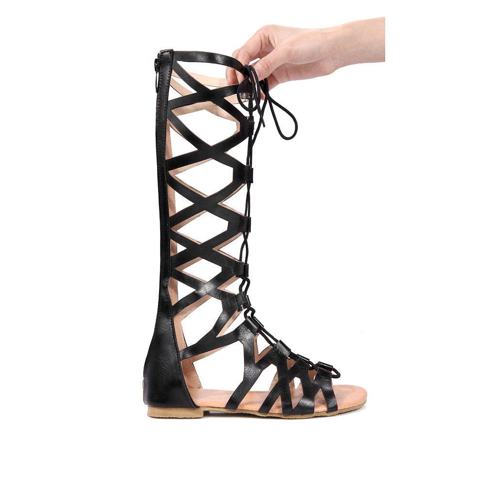 b1bb420843a7 NEMAONE Shoes Women Knee High Gladiator Sandals Hollow Out large Size 34 43  PU Leather Summer Open Toe Flip Flops Flat Sandals-in Women s Sandals from  Shoes ...
