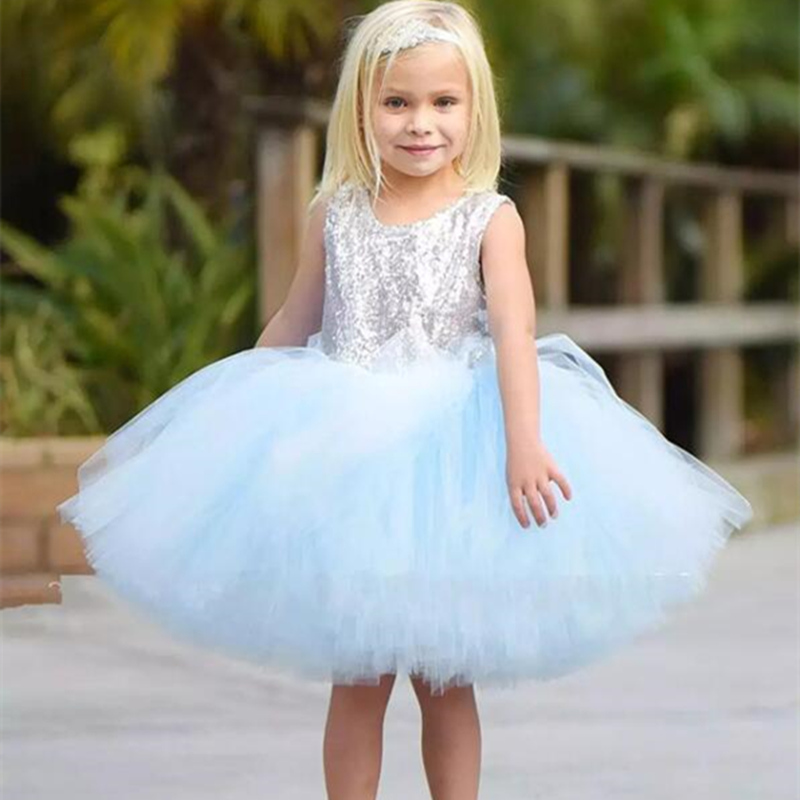 Knee-Length Kids Sequin Flower Girl Dress Pageant Party Wedding Prom Princess Formal Occassion Girls Dress