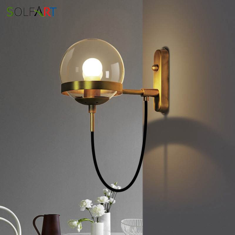 Modern Glass Sconce Wall Light White And Gold Retro Lamp Ball Dining Room Bedroom Indoor Wall Light