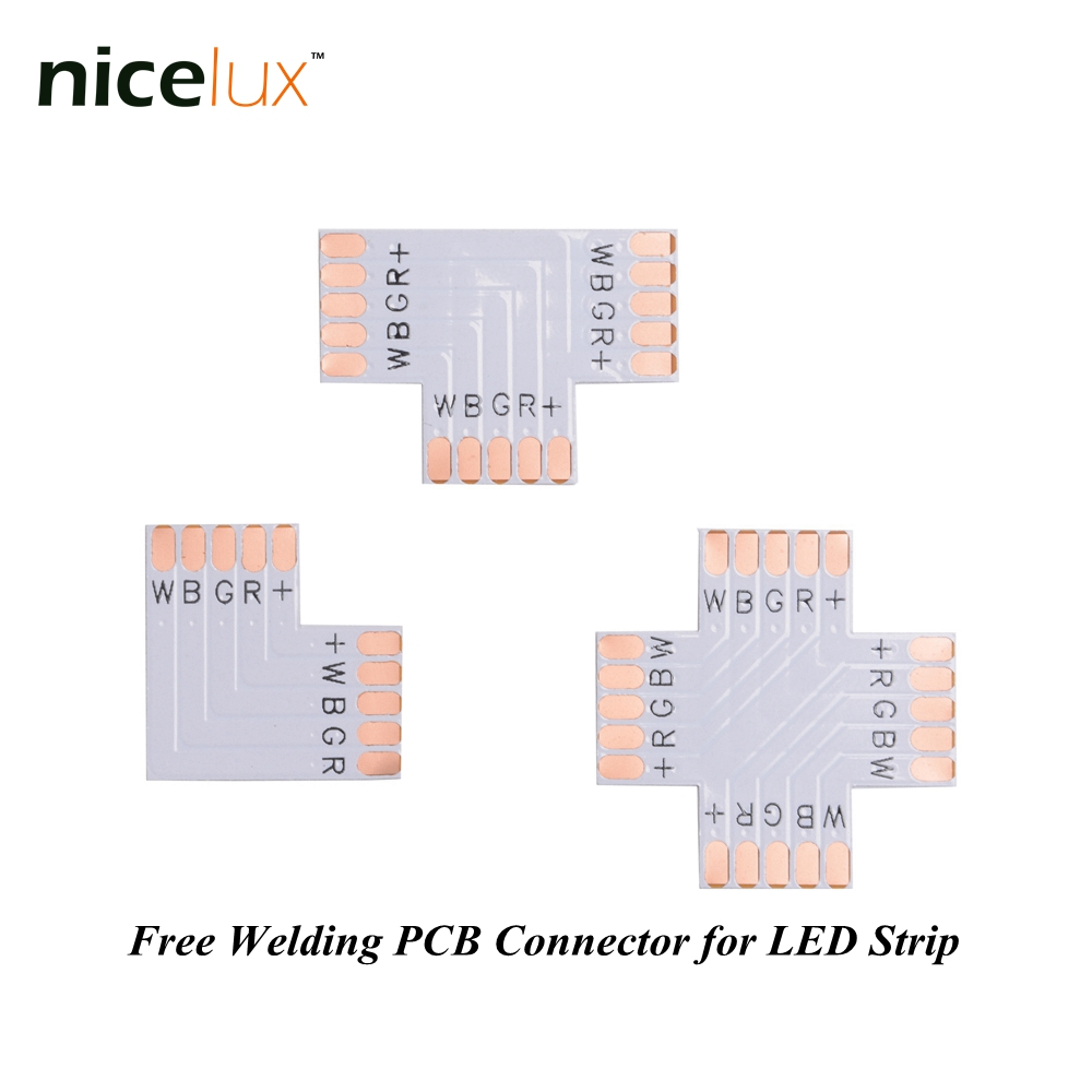 5pcs/lot RGBW LED Strip Corner Connector 5 Pin 12mm L T X Shape PCB Board Splitter Connector for SMD 5050 5pin LED Tape Light 5pcs lot 10mm 5pin rgbw l type x type t shape no soldering connector for 5050 rgbw rgbww led strip 5pin rgbw connector