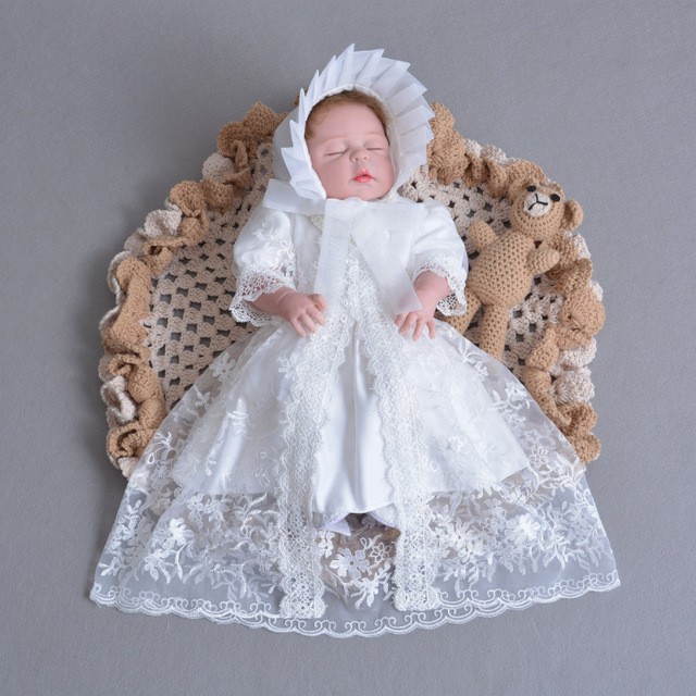 Brand 3pcs Baby Girls Dresses With Hat Baby Girl 1 Year Birthday Clothes Baptism Lace Christening Ball Gown RBF174001