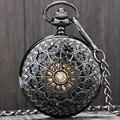 Retro Preto Teia De Aranha Oco Caso Esqueleto Árabe Número Mecânica Vento Mão relógio de Bolso Das Mulheres do Presente Bolso PP806C