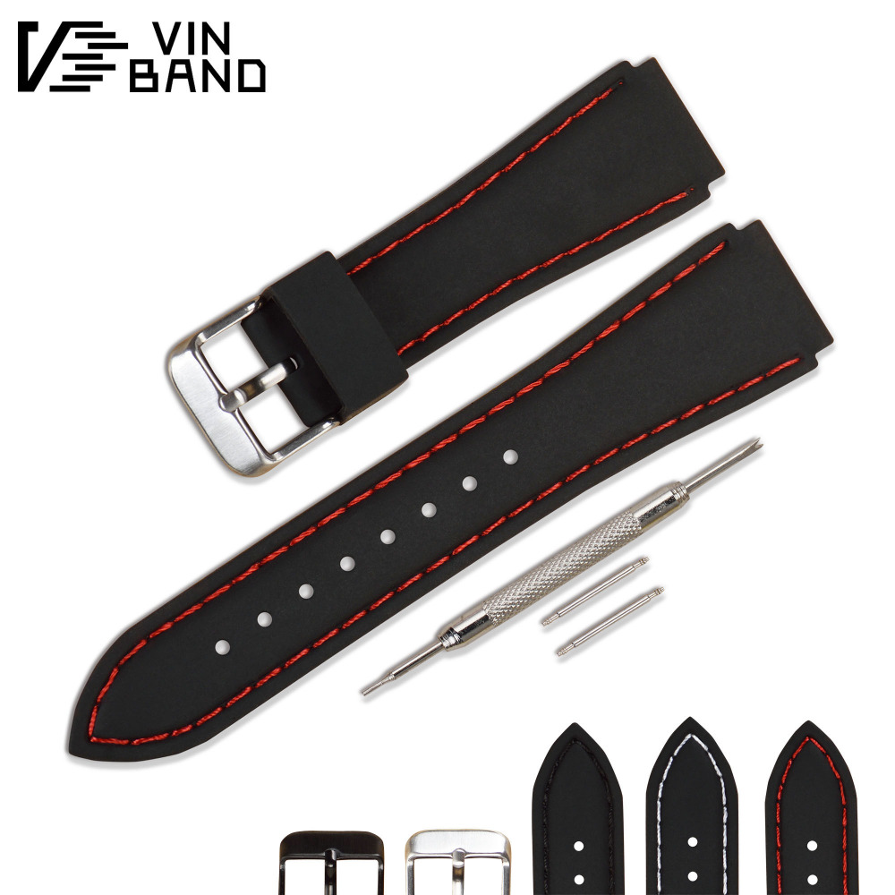 VB Silicone Watchband Black Diver Watch Band Rubber Watch Strap with Brushed Stainless Steel Buckle Clasp 20mm 22mm Watch Strap