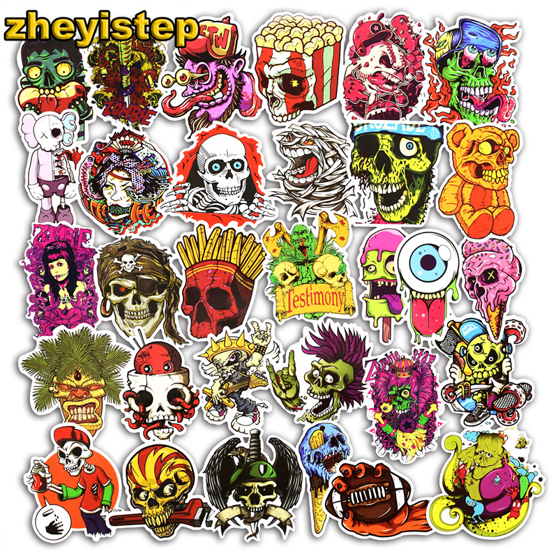 50 Pcs Horror Stickers Graffiti Sticker for Skateboard Bicycle Motorcycle Car Laptop Luggage Guitar Decals Terror Cool Stickers fretboard markers inlay sticker decals for guitar werewolf