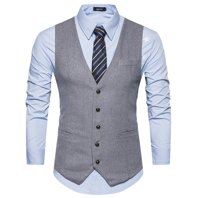 Men Vest 2018 High Grade Brand Male Waistcoat Classic Wool England Business Suit Vest Men Wedding Groom Groomsmen Singer Clothes