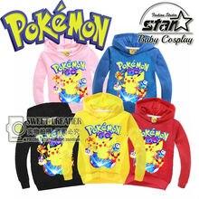 Hot Sale Boys Girls Sweatshirt Pikachu Printing Coat Kids Sport Hoodies Outerwear Children Jackets Clothing 2016