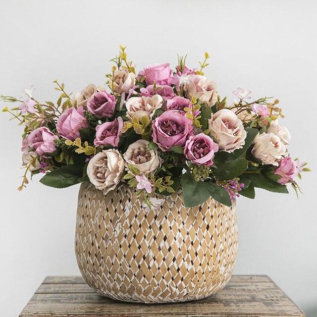 High Quality Silk Faux Peony Artificial Flower Bouquet Wedding