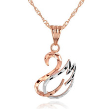 2018 Mothers Day Gift High Quality 18K Real Gold Classic Swan Necklaces Pendants For Christmas And New Year 10mm*19.50mm