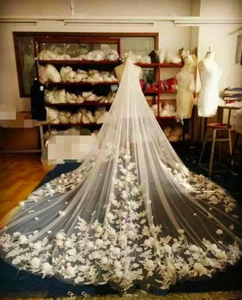 Luxury 3D Flowers Applique Bridal Veils Cathedral Length For Wedding 3 Meters Netting Wedding Veils White Ivory With Comb