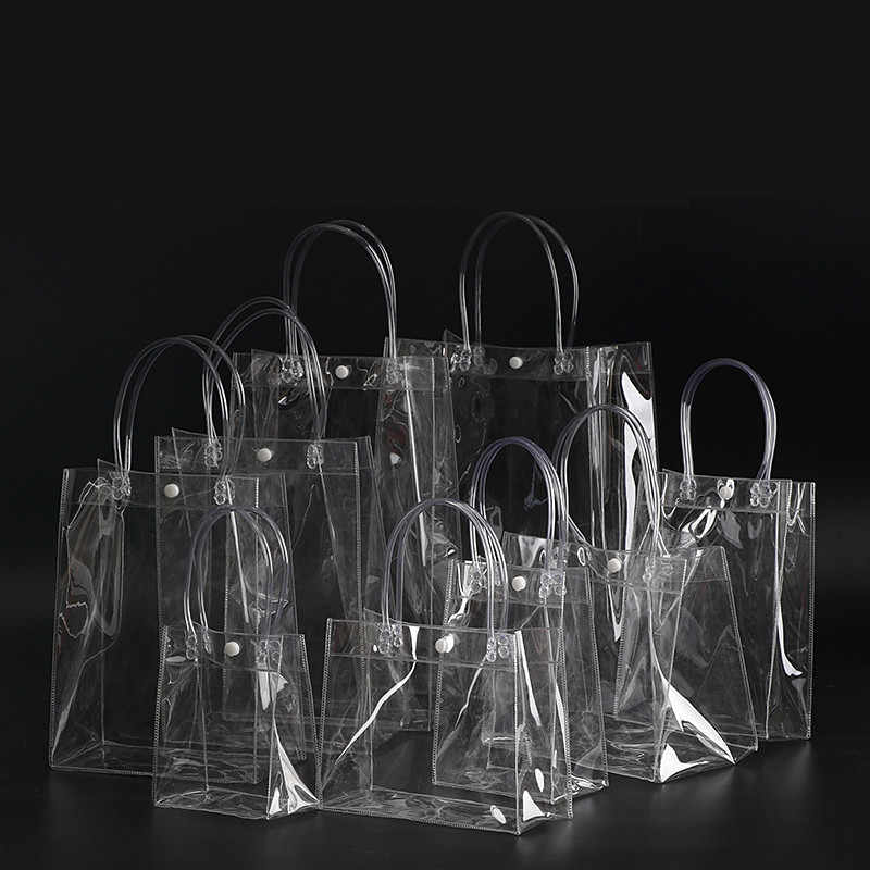 Free shipping  13*15*7CM Clear display bags small, Transparent gift plastic bag Mini PVC bags handle cosmetic bag pack 10pcs/lot