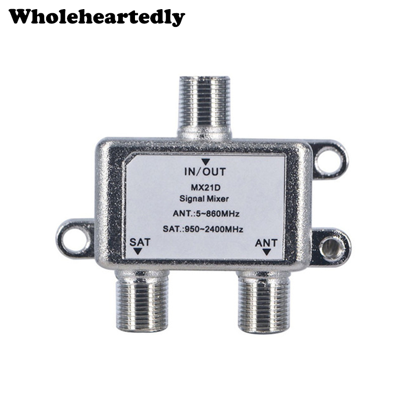 10pcs/lot 2 In 1 Dual-use 2 Way Diplexer TV Signal Mixer Satellite Sat Coaxial Combiner Cable Splitter Switch Switcher