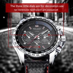 Image 4 - MEGIR hot fashion mans quartz wristwatch brand waterproof leather watches for men casual black watch for male 1010