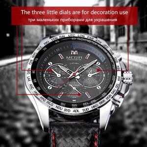 Image 4 - MEGIR حار رجل الموضة كوارتز ساعة اليد العلامة التجارية مقاوم للماء ساعات جلد للرجال عادية ساعة سوداء للذكور 1010