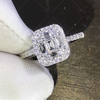 Handmade Lady 100% Soild 925 Sterling Silver ring Baguette 5A zircon Stone cz Engagement Wedding Band Ring for women men Jewelry