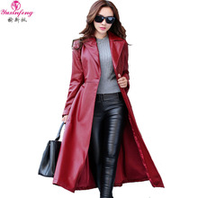 Autumn Fashion X-Long leather Trench Coat Women Outerwear Europe High Quality ladies Trench Coats 2017 leather Coat Women Winter