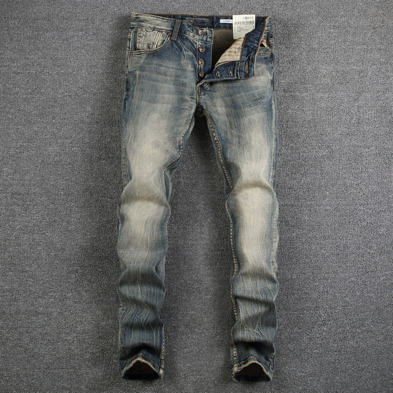 Italian Style Fashion Mens Jeans High Quality Retro Design Classic Denim Jeans Men Slim Fit Casual Buttons Pants Stretch Jeans
