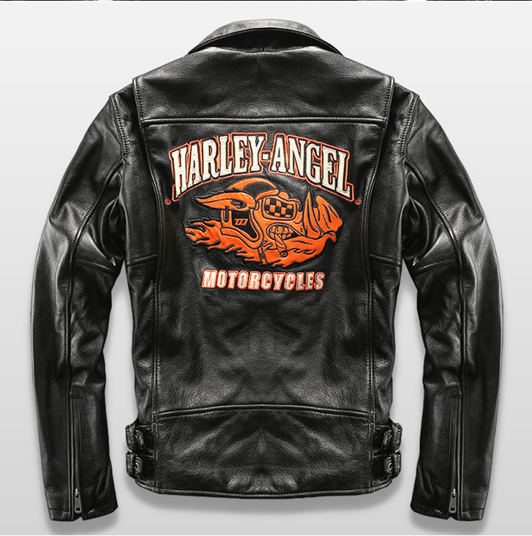 HARLEY Fly embroidery flight bomber jacket sheepskin slim baseball collar pilot leather jacket mens male boy mortorcycle blazer