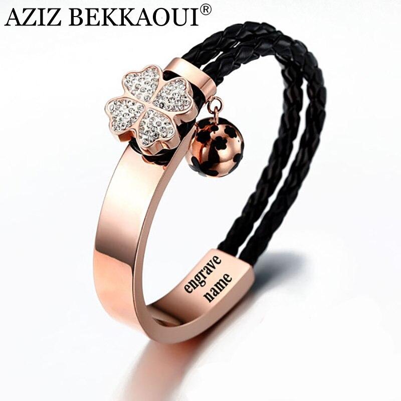 AZIZ BEKKAOUI Rosa brazaletes de oro para las mujeres 3D de flor de cristal encantos pulsera nombre grabado amante pulsera de cadena de cuerda trenzada