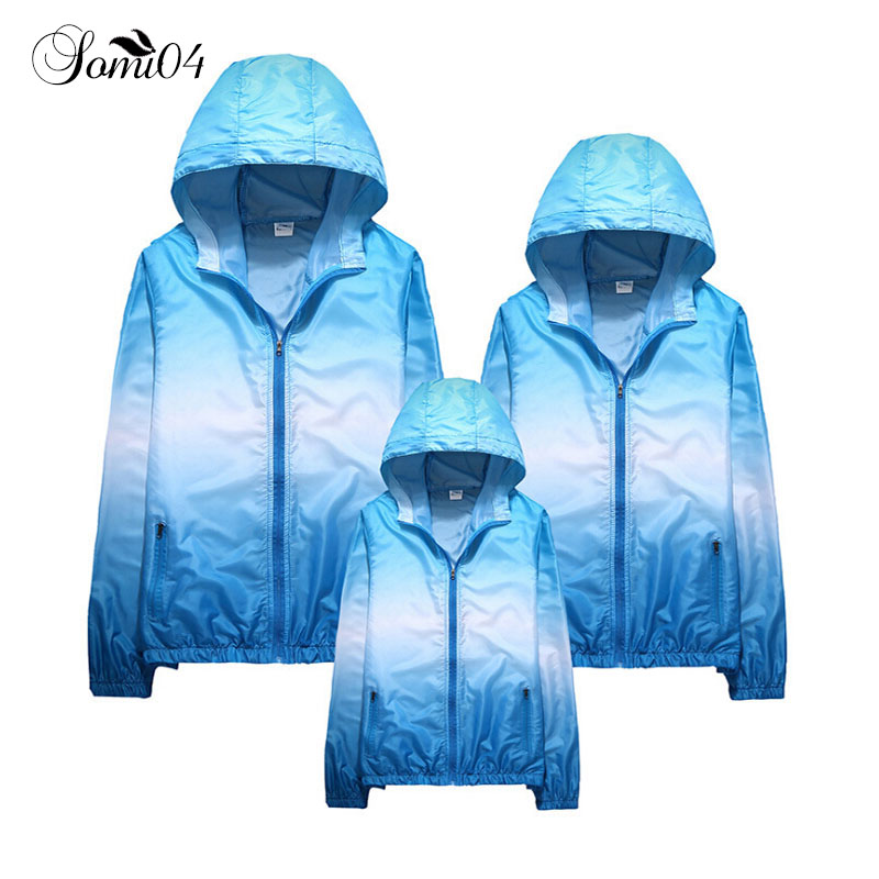 Family Matching Sunscreen Clothes 2018 Outdoor Coats Mom Dad Kids Hooded Jackets Air-conditioning Shirts Sun-protective Clothing