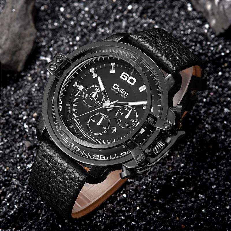 Topdudes.com - Oulm Top Men's Sports Casual Genuine Leather Strap Military Quartz Luxury Wristwatch